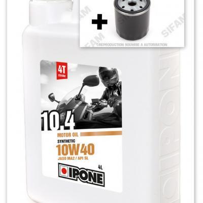 Pack vidange Moto Ipone Synthetic 10.4 - 4L + 1 Filtre à huile