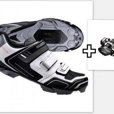 Lot Chaussures VTT Shimano XC31 Blanche + Pédales Shimano PD-M505 noir