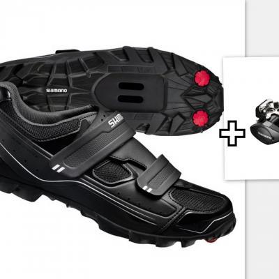 Lot Chaussures VTT Shimano M065 + Pédales Shimano PD-M505 Noir