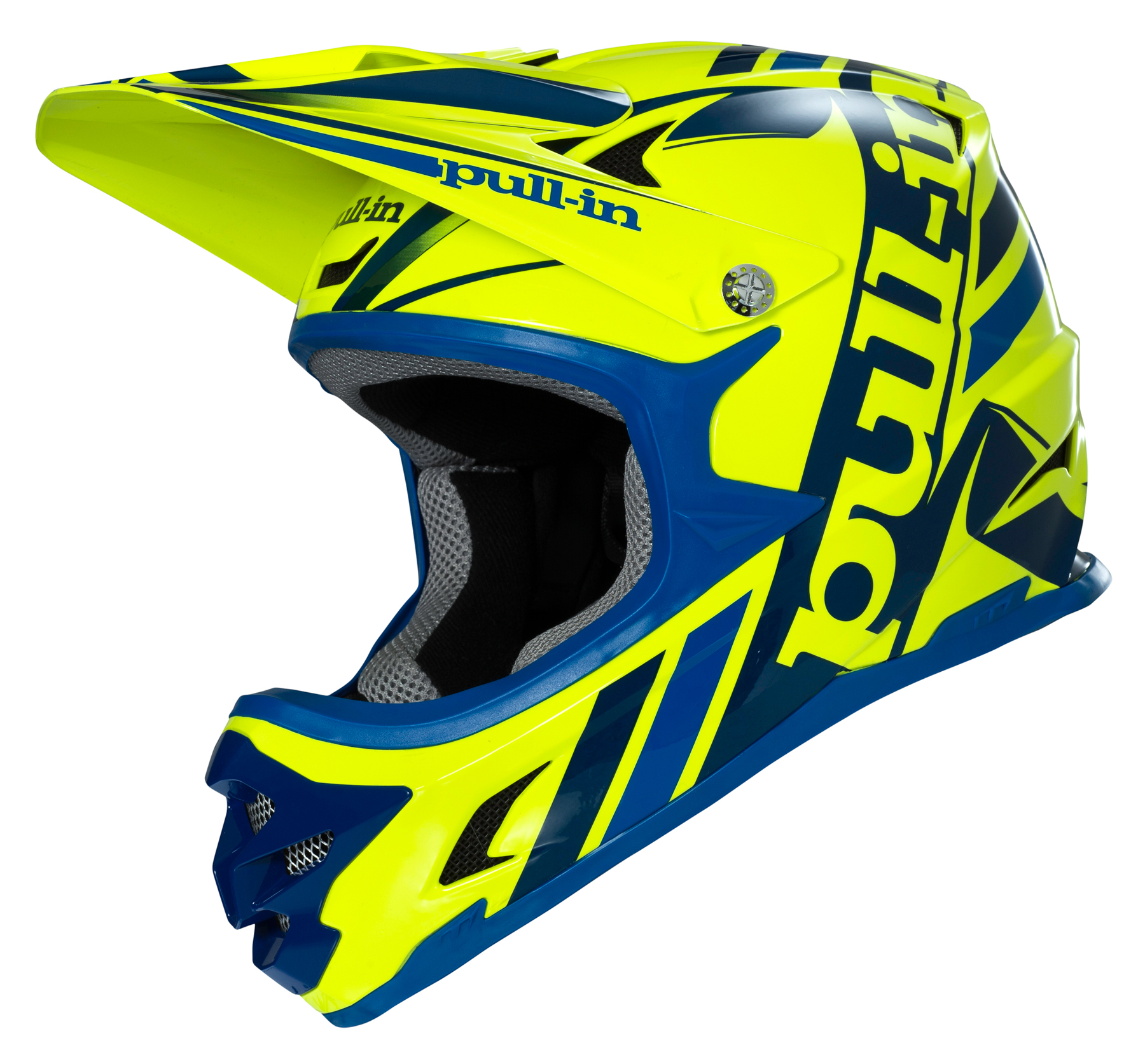 casque int gral vtt pull in jaune fluo bleu 2016. Black Bedroom Furniture Sets. Home Design Ideas