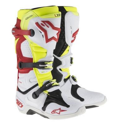 Bottes alpinestars tech 10 blanc rouge jaune fluo
