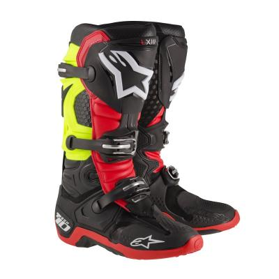 Bottes alpinestars tech 10 rouge noir jaune fluo
