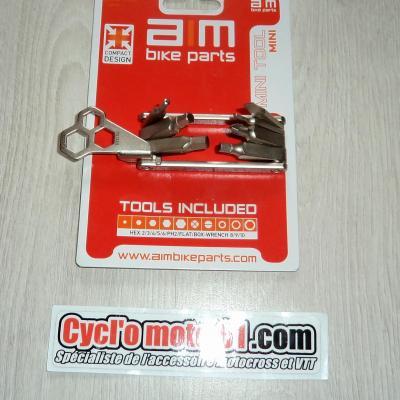 Mini Outil compact Multifonctions Vélo AIM ( Tournevis, BTR, Torcx, 8, 9, 10mm)