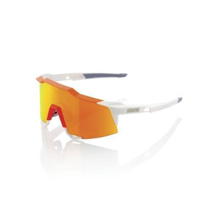 Lunettes 100% SpeedCraft Tall - Blanc/Orange Fluo - Ecran HiPER miroir rouge