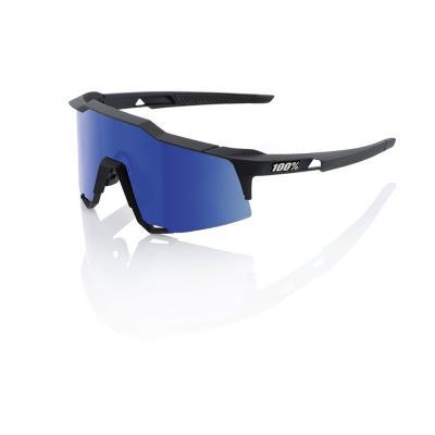 Lunettes 100% SpeedCraft Tall - Soft Tact Noir - Ecran miroir bleu