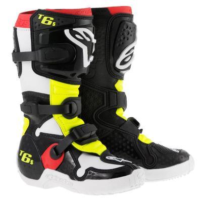 Bottes Motocross Alpinestars Tech 6 enfant Noir / Rouge / Jaune fluo