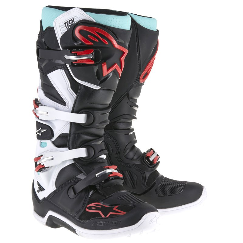 bottes motocross alpinestars tech 7 noir rouge blanc turquoise. Black Bedroom Furniture Sets. Home Design Ideas