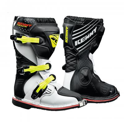 Bottes  Motocross Kenny Track Blanc / Noir /Jaune Fluo
