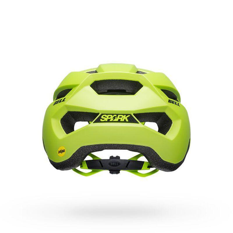 Bell spark mips mountain bike helmet matte bright green black back
