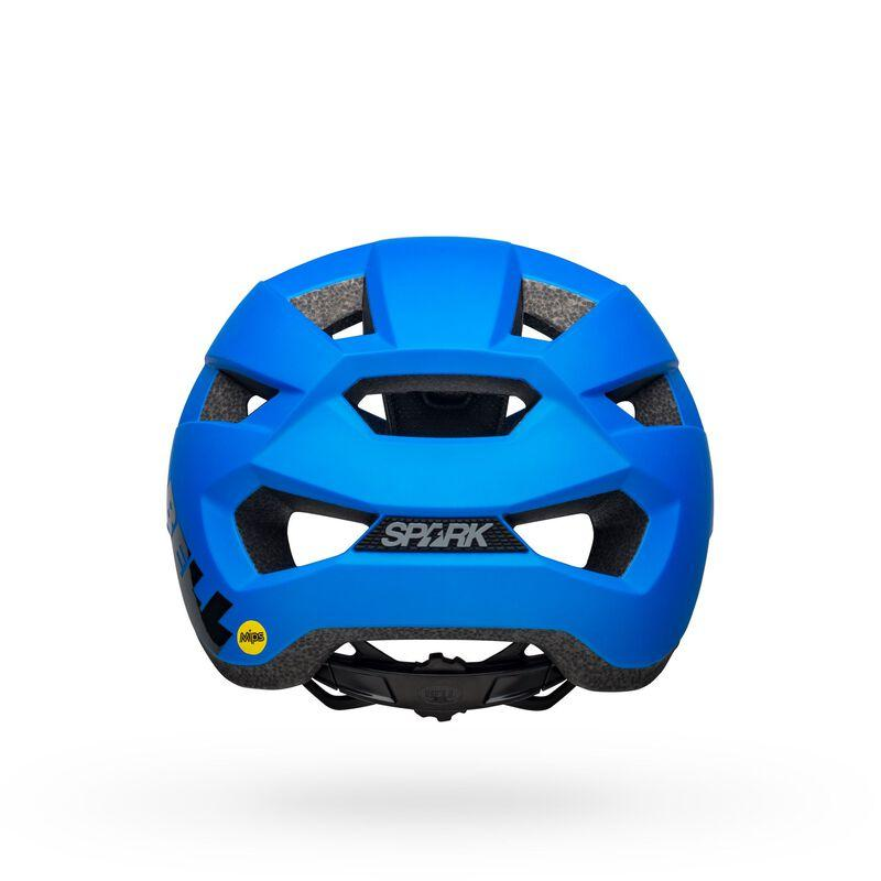 Bell spark mips mountain bike helmet matte gloss blue black back