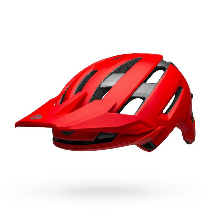 Bell super air spherical mountain bike helmet matte gloss red gray front left