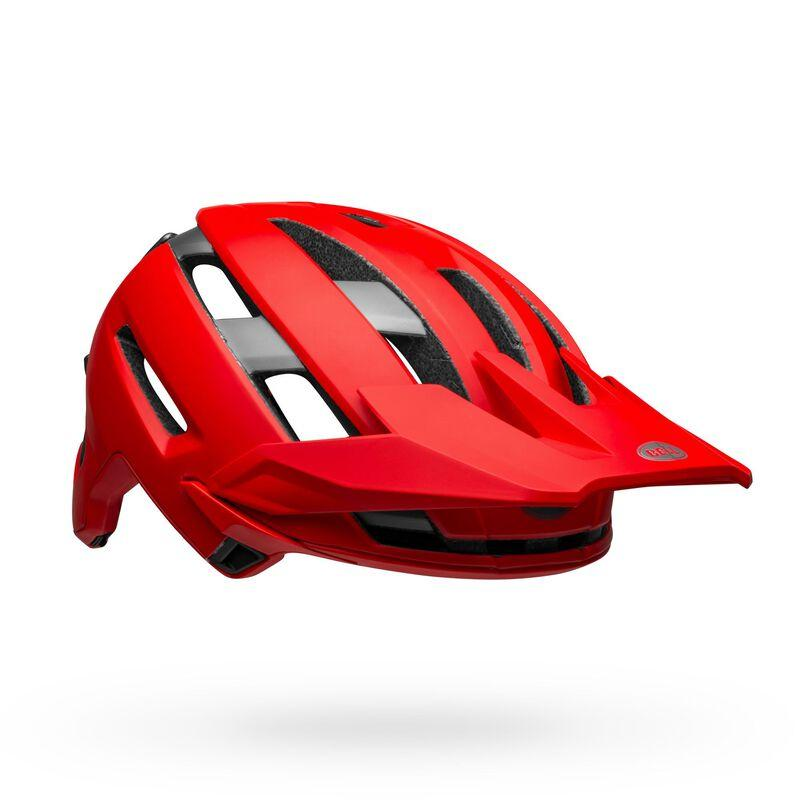 Bell super air spherical mountain bike helmet matte gloss red gray front right