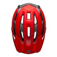 Bell super air spherical mountain bike helmet matte gloss red gray top