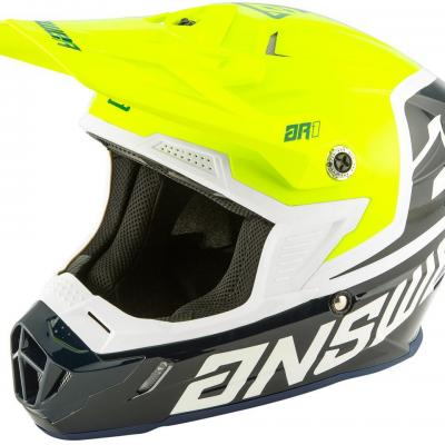 Casque Motocross ANSWER  AR1 Bleu / Jaune Fluo