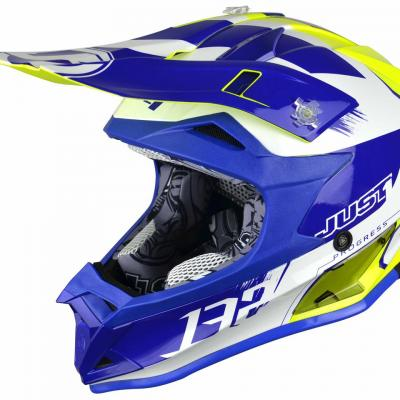 Casque Motocross enfant JUST1 J32 Kick blanc / bleu / jaune