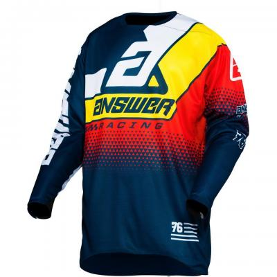 Maillot Motocross ANSWER Elite Korza Bleu / Jaune / Rouge / Blanc