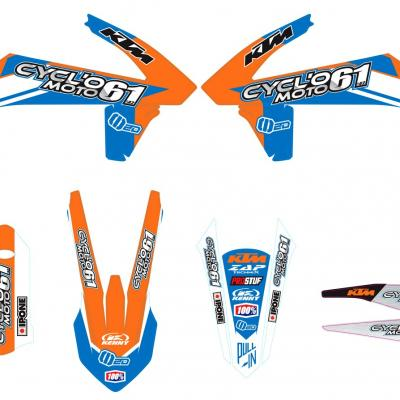 Déco: Kit déco Cycl'o moto 61 KTM Orange/Bleu