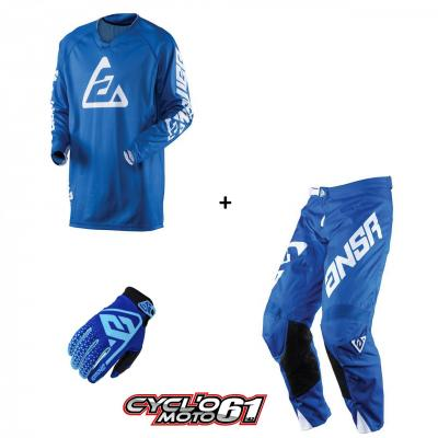 Tenue + Gants Motocross  ANSWER Elite Solid Blue