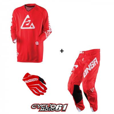 Tenue + Gants Motocross  ANSWER Elite Solid Red