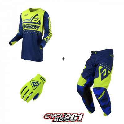 Tenue + Gants Motocross  ANSWER Elite Discord Midnight / Hyper Acid