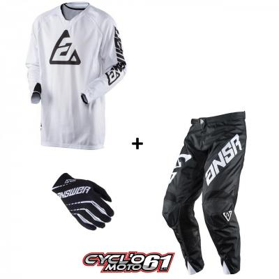 Tenue + Gants Motocross  ANSWER Elite Solid White
