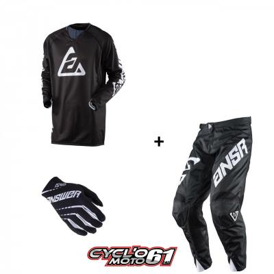 Tenue + Gants Motocross  ANSWER Elite Solid Black