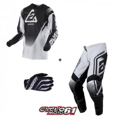 Tenue + Gants Motocross  ANSWER Syncron Air Drift Black / White