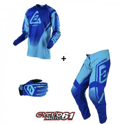 Tenue + Gants Motocross  ANSWER Syncron Drift Astana / Reflex Blue