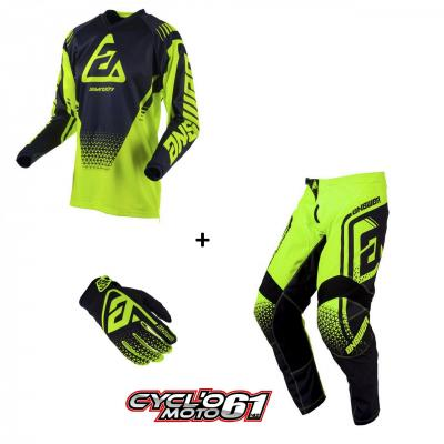Tenue + Gants Motocross  ANSWER Syncron Drift Hyper Acid / Black