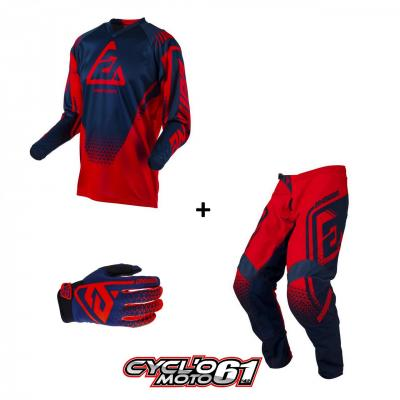 Tenue + Gants Motocross  ANSWER Syncron Drift Bright Red / Midnight