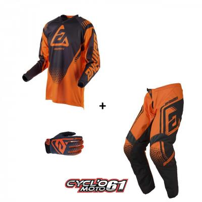 Tenue + Gants Motocross enfant ANSWER Syncron Flo Orange / Charcoal