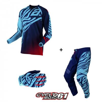 Tenue + Gants Motocross  ANSWER Syncron Flow Astana / Indigo / Bright Red
