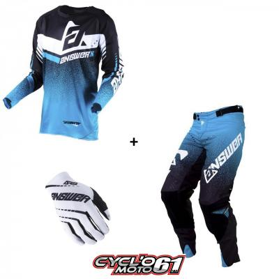 Tenue + Gants Motocross  ANSWER Trinity Black / Astana / White