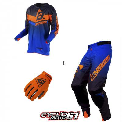 Tenue + Gants Motocross  ANSWER Trinity Black / Cobalt / Orange